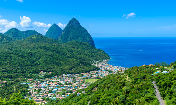 Soufriere town and the Pitons